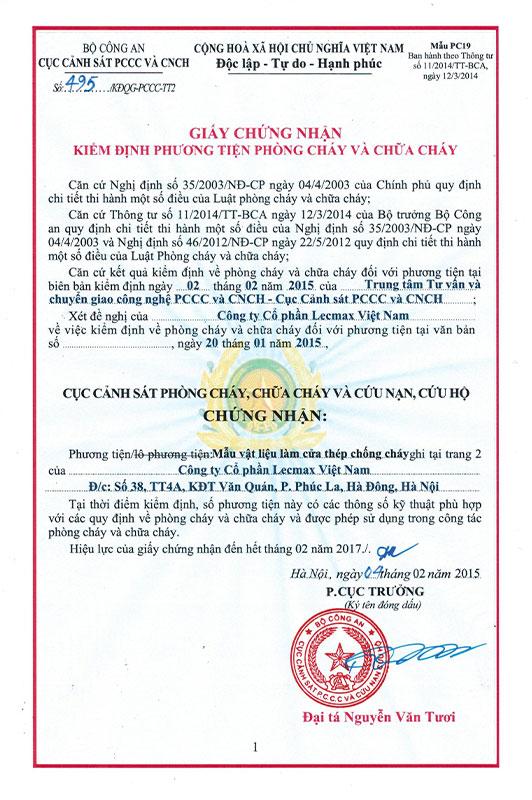 Chứng nhận kiểm định phương tiện PCCC tháng 2/2015